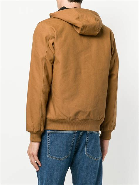 Hooded Zipped Jacket lyst carhartt zipped hooded jacket in brown for