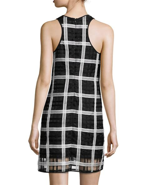 grid pattern dress milly sleeveless grid pattern organza shift dress