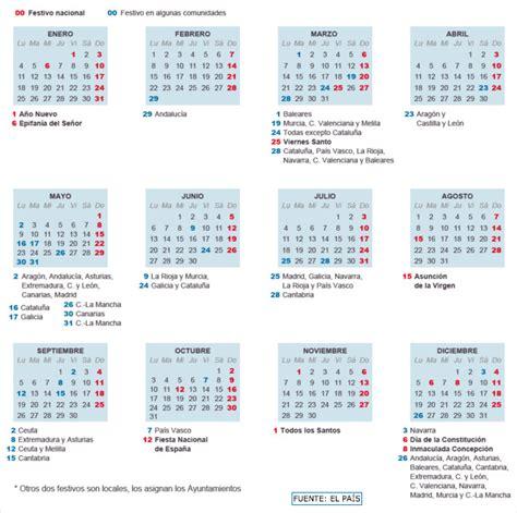 Calendario 2016 España Calendario Laboral 2016 Ocho Festivos Para Toda Espa 241 A