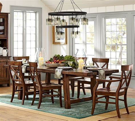 barn dining room table kitchen living room open concept dark wood pottery barn small full circle