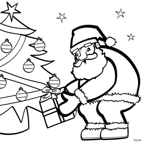 christmas tree and santa coloring pages santa near the christmas tree coloring pages hellokids com