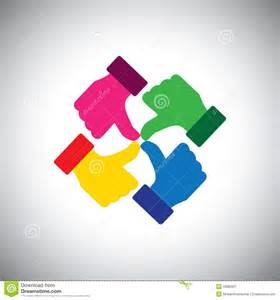 what color represents unity vector icon of colorful thumbs up concept of