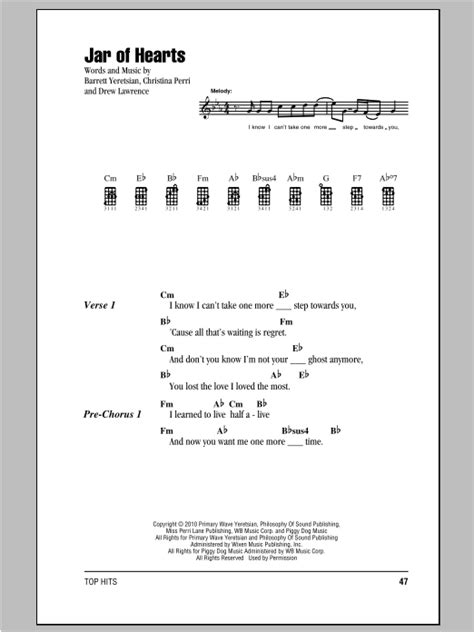 tutorial guitar jar of hearts jar of hearts sheet music by christina perri ukulele with
