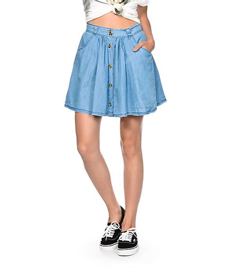 highway button up denim skater skirt at zumiez pdp