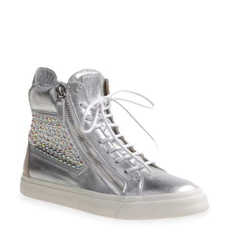 womans high top sneakers giuseppe zanotti high top sneakers in silver tone