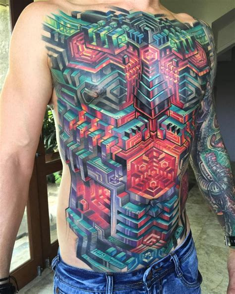 Abstract Geometric Front Bodysuit Tattoo Mike Cole Tattoos Artist