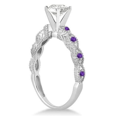 vintage marquise amethyst engagement ring 14k white gold 0