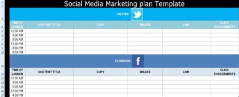 Social Media Marketing Plan Template Free Exceltemple Advertising Media Plan Template