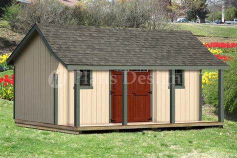 Shed With Porch Plans by 16x20 Ft Guest House Storage Shed With Porch Plans P81620