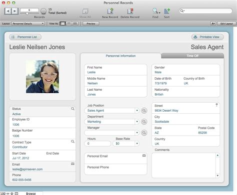 The Mac Office Personnel Records Filemaker Pro 12 Starter Solution Employee Personnel File Template