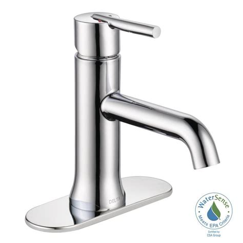 delta trinsic single hole single handle bathroom faucet in