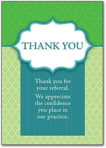 Thank You For Reference Card
