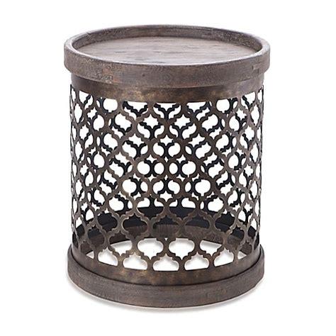 drum pattern metal intelligent design cirque quatrefoil metal drum table in
