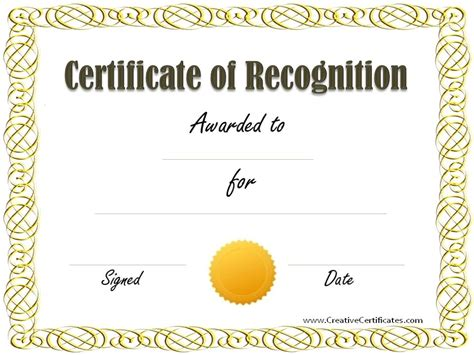recognition certificate template free free certificate of recognition template customize