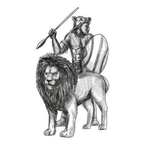 zulu tattoo prices african warrior spear lion tattoo stock illustration