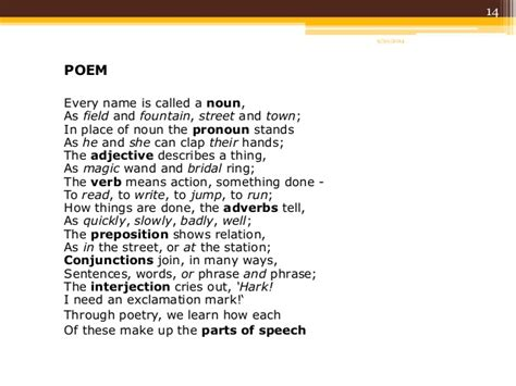 what are sections of a poem called english part of speech