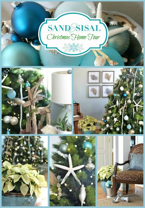 coastal xmas decor home tours sea glass ornaments sand and sisal