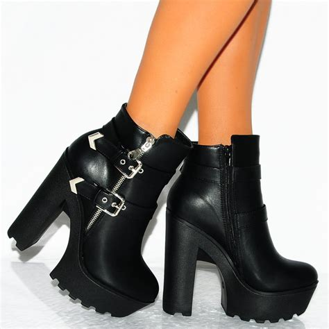 black ankle high heels black pu leather ankle boots zip buckle detail