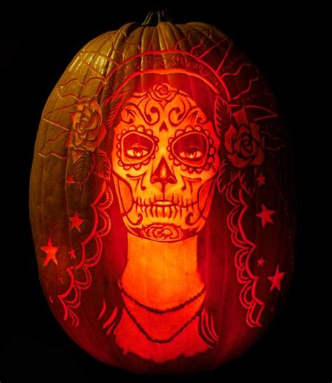 day of the dead pumpkin template for day of the dead creative expression in pumpkin