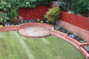 curved flower bed design with circular patios ljn blog