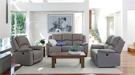 Living Room Ideas Grey Gaucho 3 Piece Powered Fabric Recliner Lounge Suite