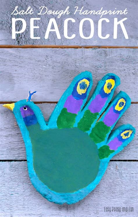 crafts activities for handprint peacock salt dough craft for easy peasy