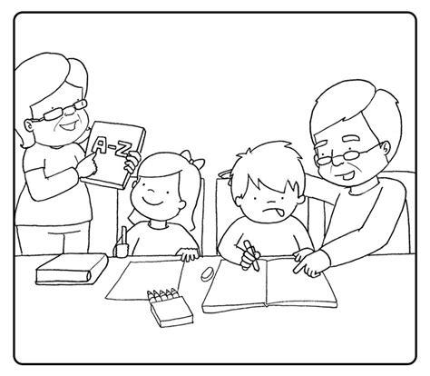 colorear abuela haciendo manualidades con sus nietos colorea a los abuelos haciendo los deberes con sus nietos