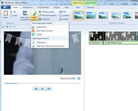 windows movie maker tutorial video editing how to add edit music to video with windows movie maker