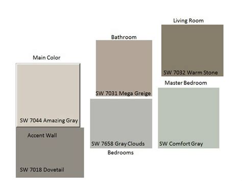 here are the colors i selected for my house sw mega greige sw gray clouds sw amazing