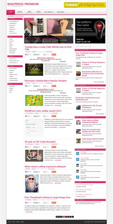 themes wordpress multisite pinkster wordpress theme magpress com