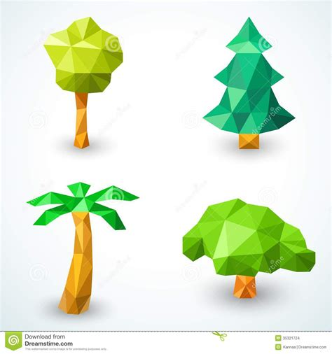 Origami In Nature - set of polygonal origami tree icons vector stock images