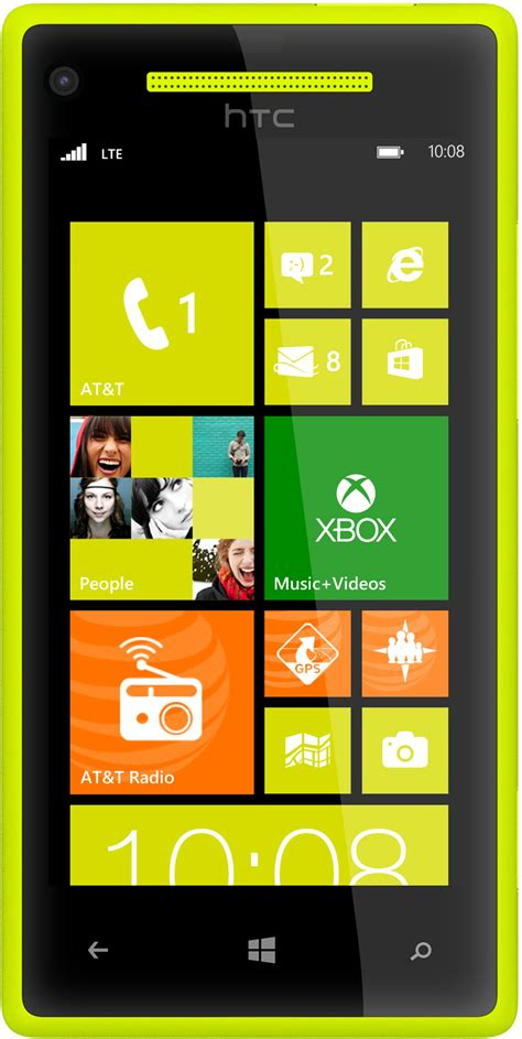 htc windows phone   lte nfc yellow smart phone att good condition  cell phones