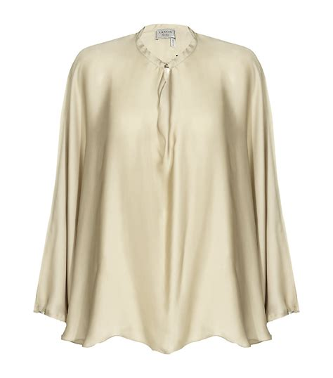 Beige Oversize Print Top 31092 lanvin oversized silk top in metallic lyst