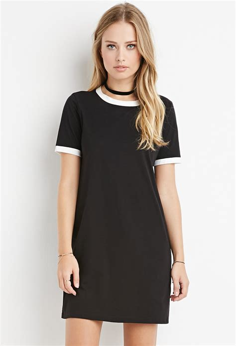 Ringer T Shirt Dress forever 21 ringer t shirt dress in black lyst