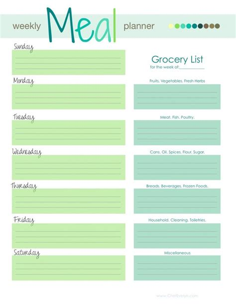17 best ideas about meal planning templates on pinterest