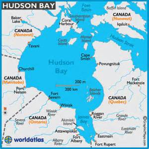 hudson bay map and map of hudson bay depth size history