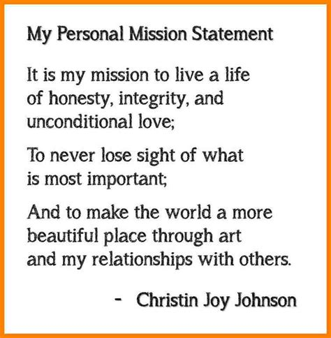 7 personal mission statement exles address exle