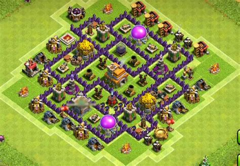layout of coc th7 top 50 best th7 war base farming hybrid trophy