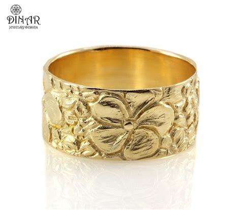 wide gold wedding band 14k yellow gold wedding band engraved