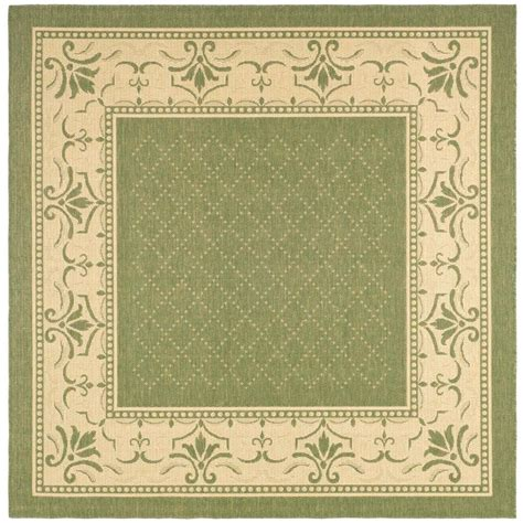 Safavieh Courtyard Olive Natural 7 Ft 10 In X 7 Ft 10 Outdoor Rug 10 X 10
