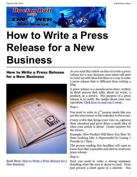 how to write a press release for an event template how to write a press release for a new business