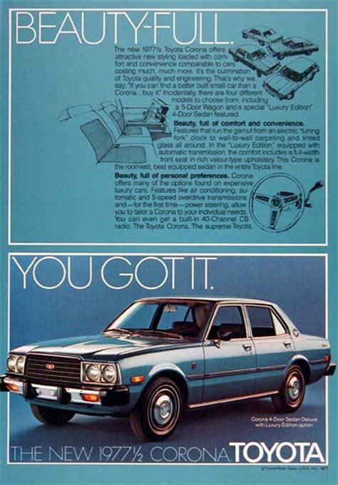 vintage toyota ad 1977 toyota corona sedan classic vintage print ad