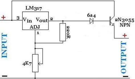 high current transistor voltage regulator creating a high current lm317 regulator