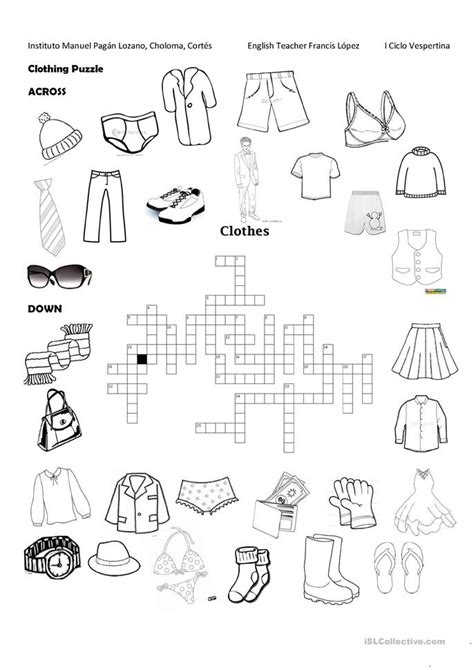 Clothing Puzzle worksheet - Free ESL printable worksheets