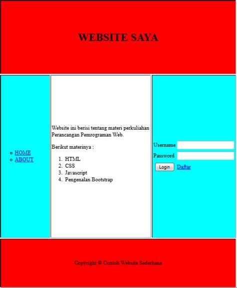 membuat web statis dengan html cara membuat web statis sederhana menggunakan table home