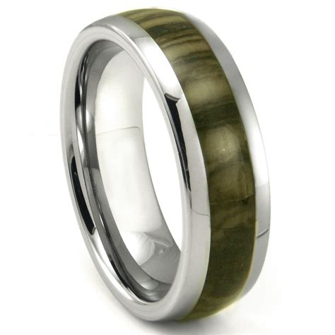 tungsten carbide oak metamorphic inlay dome wedding