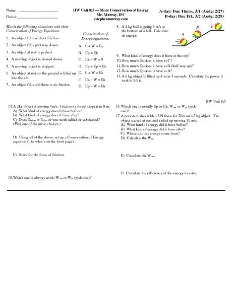 Of Conservation Of Energy Worksheet Answers by Worksheet Conservation Of Energy Worksheet Caytailoc