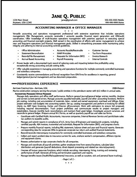 accounting supervisor resume sle accounting manager resume exles 28 images account