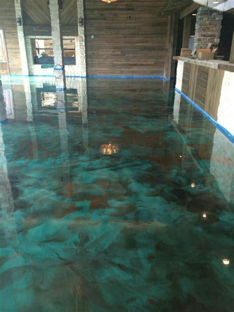 epoxy floor floor ideas turquoise  brown