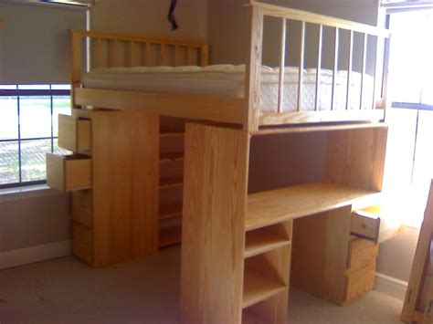 full size bed with desk how to build a full size loft bed with desk quick woodworking projects